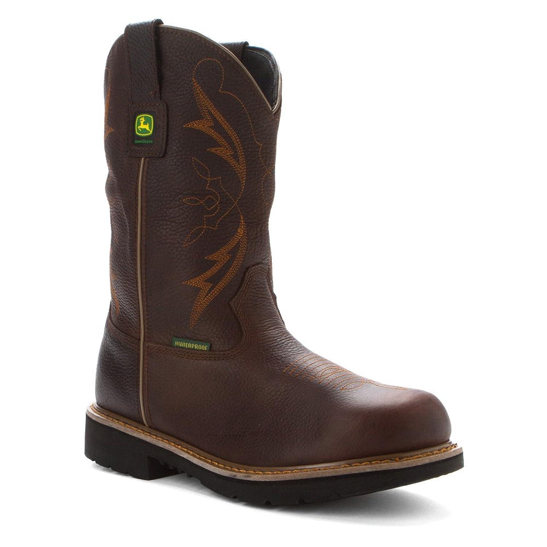 "John Deere Waterproof 11"" Pull-On Men's Chocolate Brown Leather Boots 8 M"