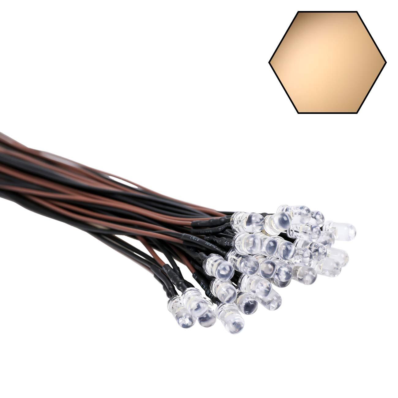 EDGELEC 30pcs 12 Volt 5mm Warm White LED Lights Emitting Diodes Pre Wired 7.9 inch DC 12v LED Light Clear Lens Small LED Lamps
