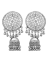Jwellmart Afghani Bohemian Tribal Style Oxidized Drop Dangle Indian Earrings for Women and Girls