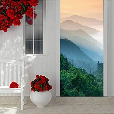 3D DIY Door Sticker Wall Decals Mural Wallpaper, Great Smoky Mountain National Park oconaluftee River Valley, Vinyl Removable Decals for Home Decorative W30.3 x L78.7 Inch: Baby