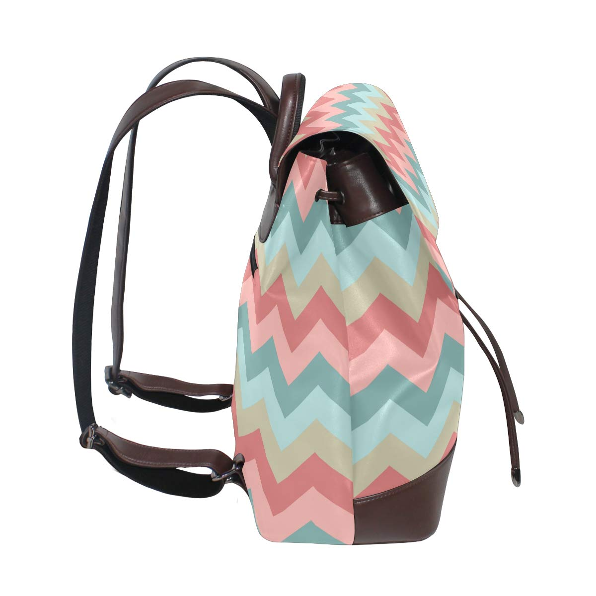 KEAKIA Women PU Leather Chevron Pattern Texture Backpack Purse Travel School Shoulder Bag Casual Daypack