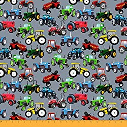 Soimoi Sewing Cotton Cambric Fabric Material Tractor Print 58 Inches Wide By The Yard-Gray