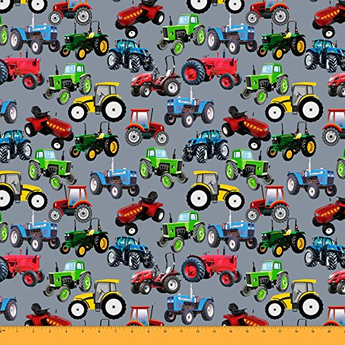 Soimoi Sewing Cotton Cambric Fabric Material Tractor Print 58 Inches Wide By The Yard-Gray Cut Yard Tractor