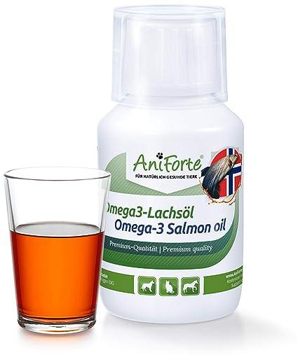 AniForte Omega3 Aceite de salmón de 100 ml para Gatos, Perros y Caballos fría Rich