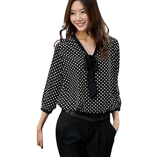 ae21b51ee9d83b Photno Women s Tunic Tops Casual Long Sleeve Chiffon Dots Bowknot Shirts  Dressy Blouses (S