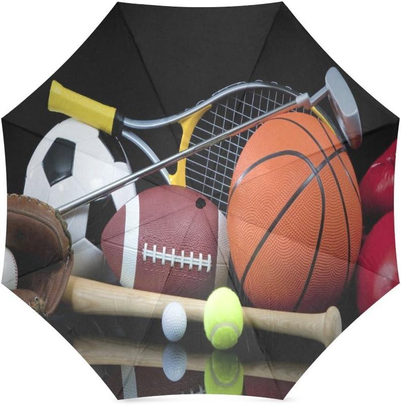 Custom Popular sports balls Compact Travel Windproof Rainproof Foldable Umbrella
