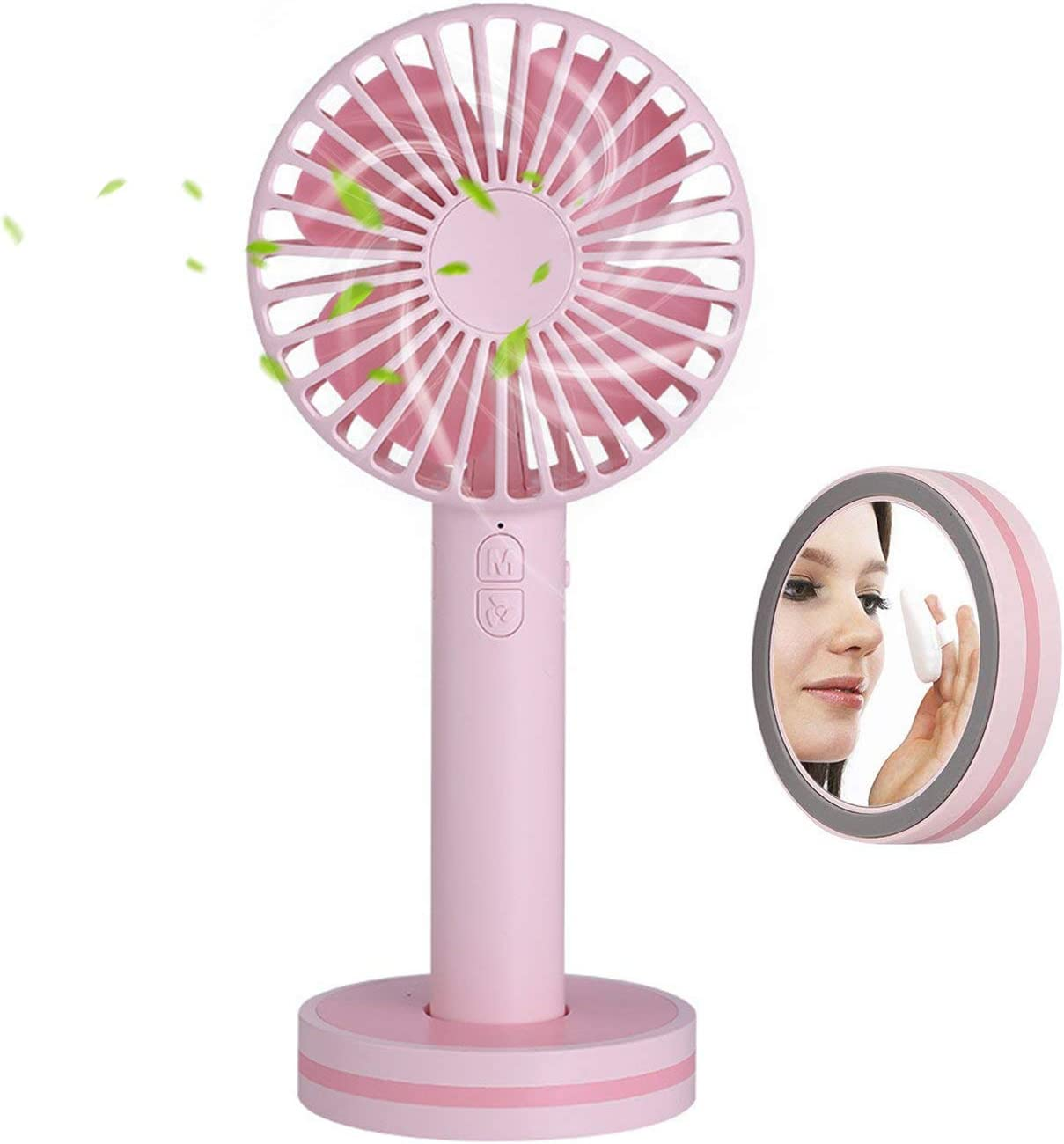 Mini Handheld Fan,Portable Personal Desktop Cooling Fan,Desk Macaron USB Rechargeable Fan with Gust Mode and Magnetic Mirror Base for Office Outdoor Household Traveling 3 Speed,Pink