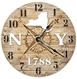 Cheap NEW YORK CLOCK Established in 1788 Decorative Round Wall Clock Home Decor Large 10.5″ COMPASS MAP RUSTIC STATE CLOCK Printed Wood Image
