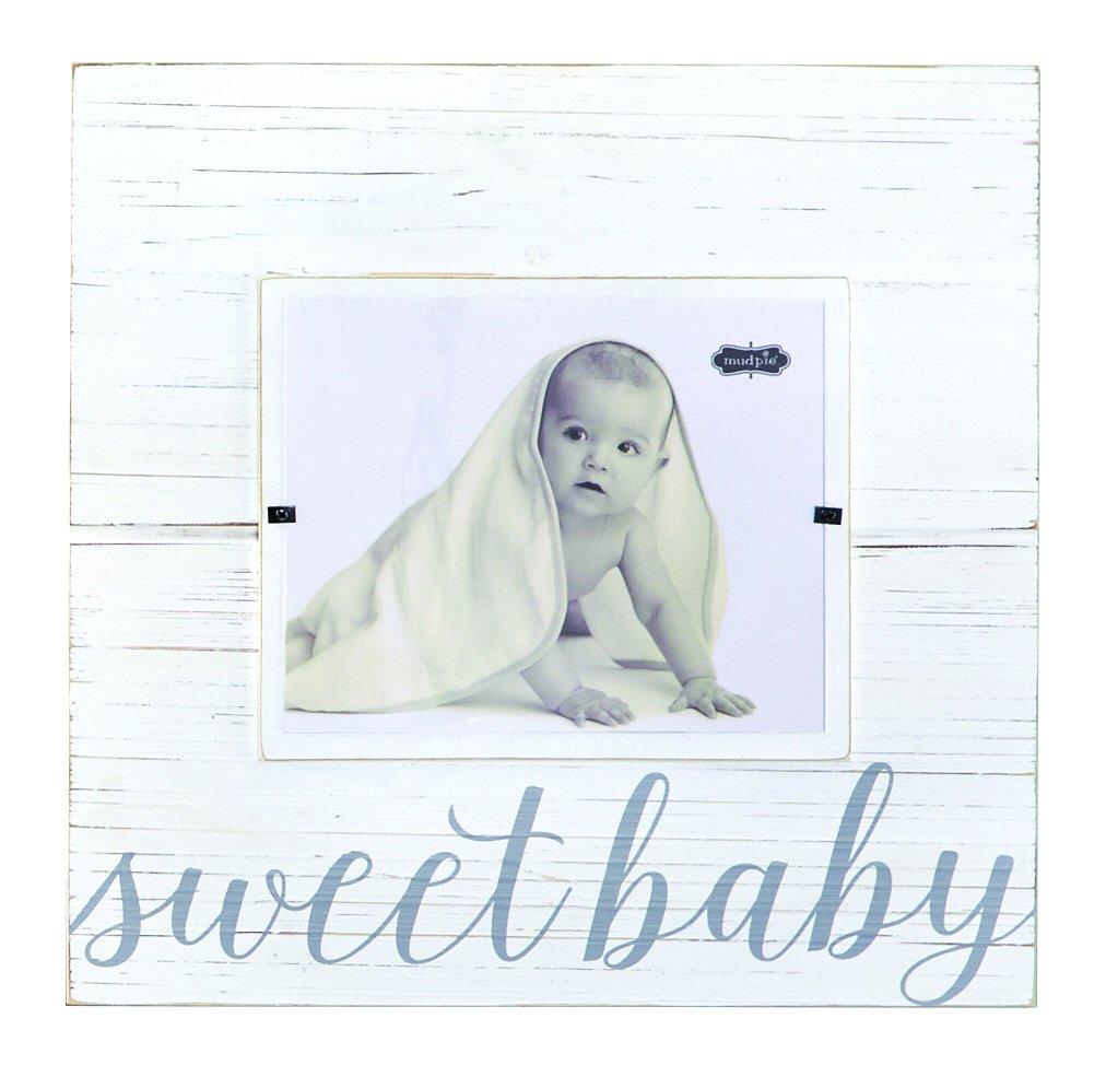 Gray Mud Pie Sweet Baby Deluxe Wood Frame Nursery D/écor 8 x 10