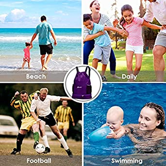 Sports Gym Sackpack for Men Women Youlerbu Waterproof Drawstring Backpack Bag With Shoe Compartment