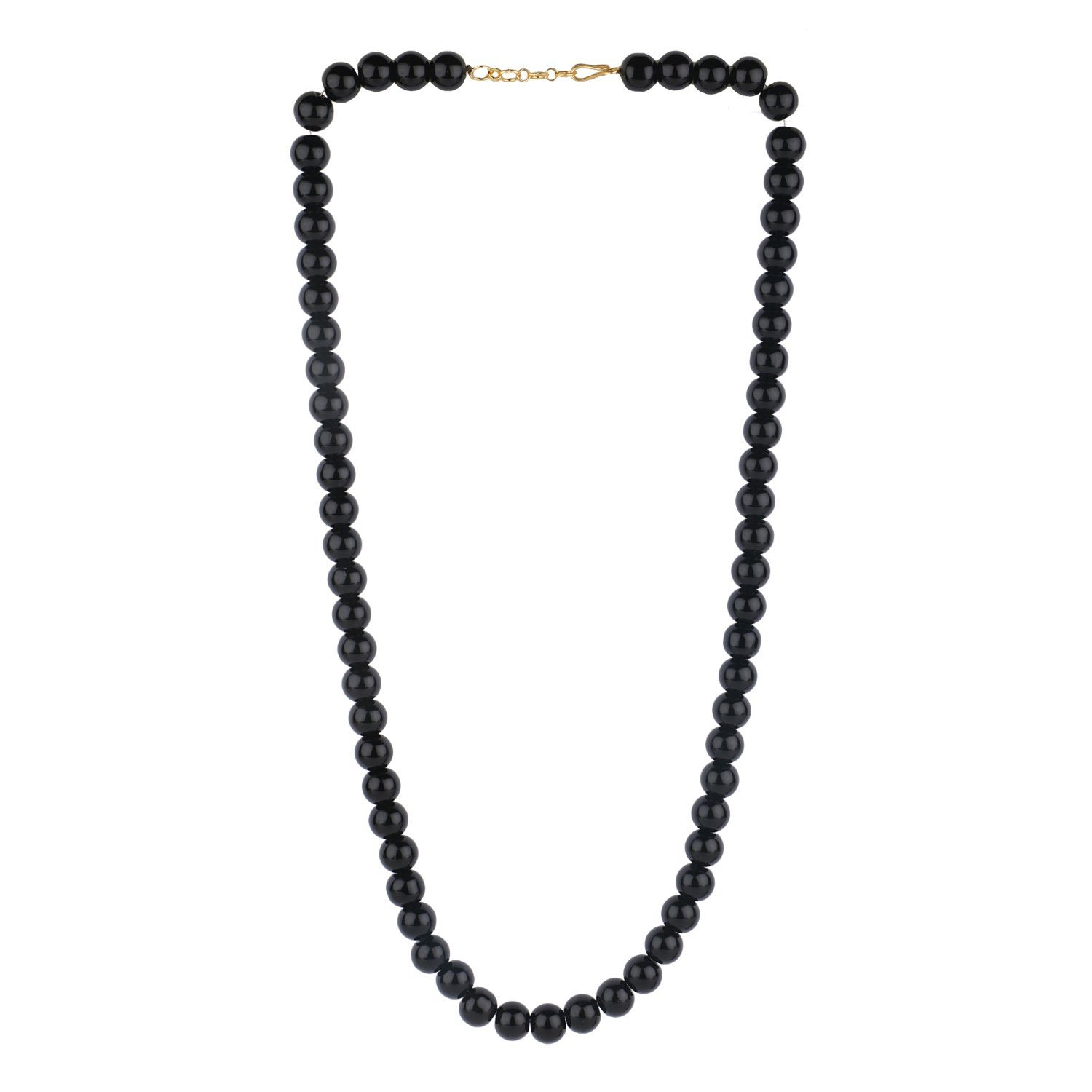Efulgenz Handcrafted Black Crystal/Glass Stone Classic Round Beaded Strand Necklace Fashion Accessories for Women and Girls