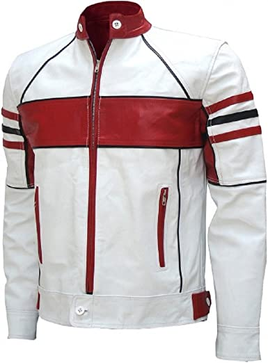 FashionAve London Mens Red Real Premium-Quality Leather Racing Jacket
