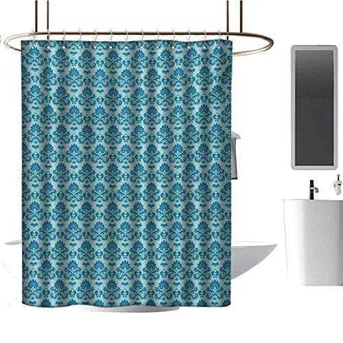 (Qenuan Waterproof Fabric Shower Curtain Damask,Blue Colored Pattern with Western Style Tile Revival Flourish Baroque Influences,Blue Seafoam,Waterproof Washable Bathroom Curtain 70