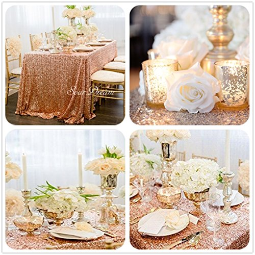 SoarDream 50x80 Inch Rose Gold Sequin Tablecloth Christmas/Wedding Table Cloth