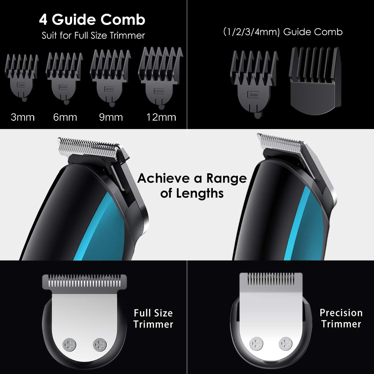 Beard Trimmer for Men, 11 In 1 Pro Hair Clippers Cordless Nose Hair Trimmer Kit