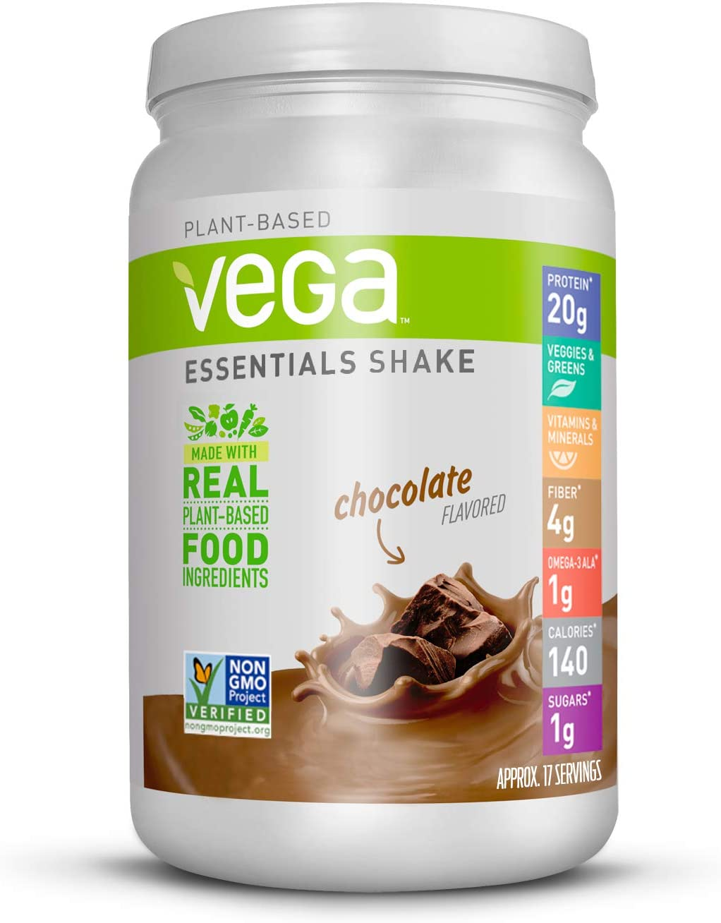Vega Essentials Protein Powder, Chocolate, Plant Based Protein Powder Plus Vitamins, Minerals and Antioxidants - Vegan, Vegetarian, Keto-Friendly, Gluten Free, Dairy Free (17 Servings, 1lb 5.6oz): Health & Personal Care