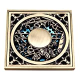 Harpoon Brass Bathroom Floor Drain Square Shower Sink Drain Strainer with Removable Cover, Carved Antique