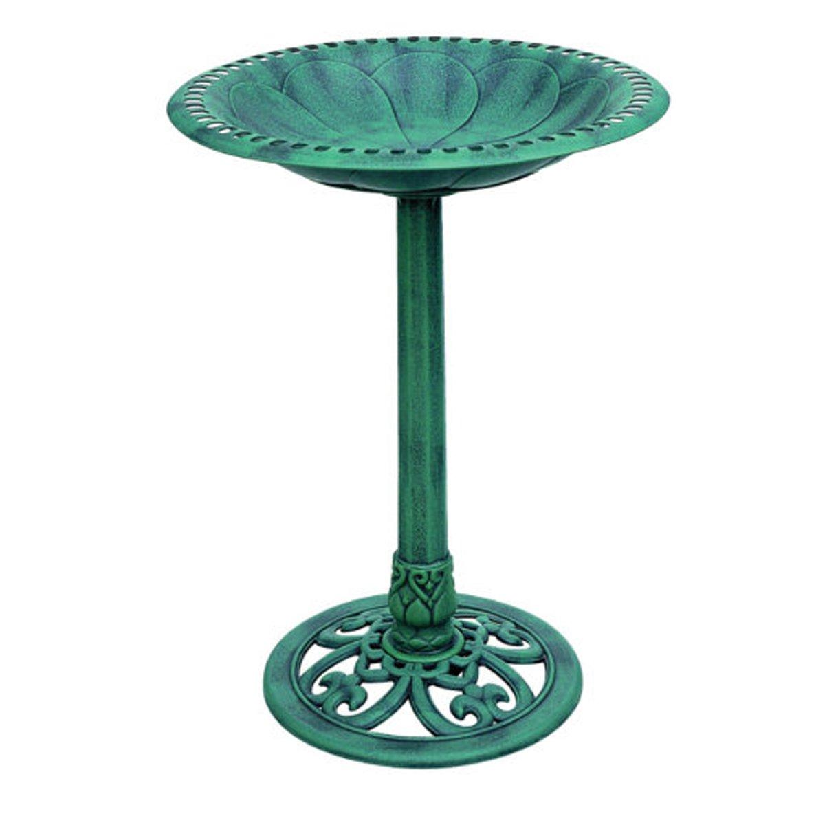 MS Home Antique Style Polyresin Round Green Bird Bath Feeder - Weather-Resistant - 19.6'' L x 19.6'' W x 27.3'' H