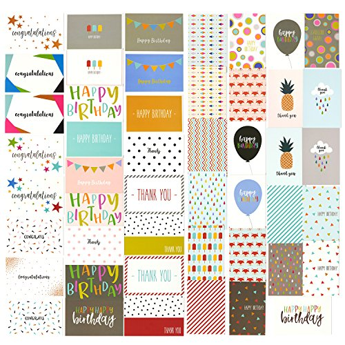 (48 Pack Assorted All Occasion Greeting Cards - Includes Happy Birthday, Congratulations, Thank You Note Cards Assortment Designs - Bulk Box Set Variety Pack with Envelopes Included - 4 x 6 Inches)
