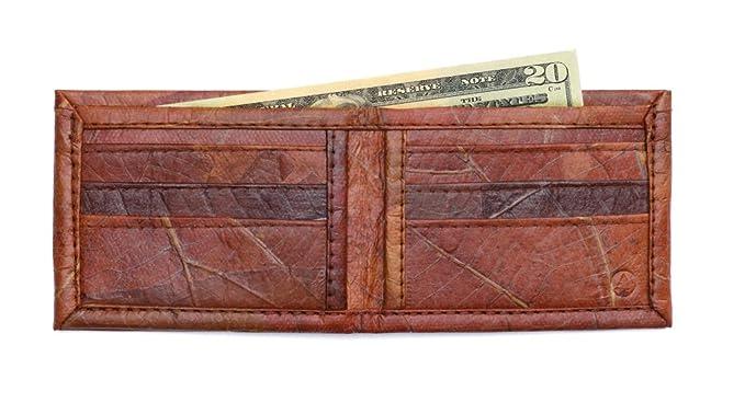 e2ff20f1d0a0 Leaf Leather Bifold Wallet - Mens/Unisex Flip Wallet, Handmade - Brown