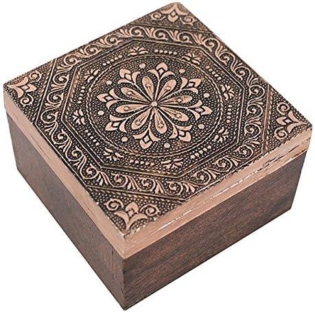 Caja (cobre y madera de mango caja cuadrada con tapa de metal ...