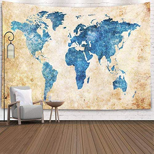 Douecish Tapestry Wall Hanging, Decoration Grunge World Map Background for Bedroom Living Room Decor Wall Hanging Tapestry 80X60 Inches,Black Green