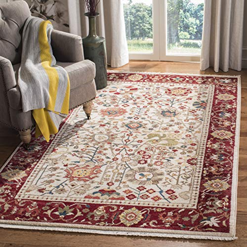 Safavieh Kashan Collection KSN303D Traditional Ivory and Red Area Rug (8' x 10')