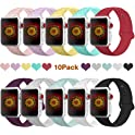 10-Pack Bmbmpt 38mm 40mm 42mm 44mm Soft Silicone iwatch Sport Band