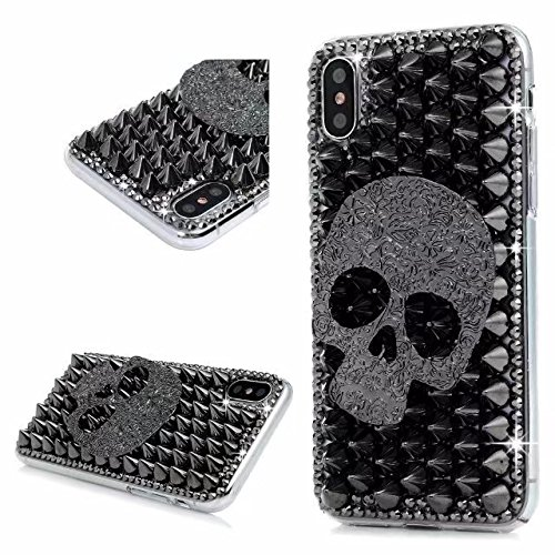Crystal Skull Black Case (iPhone X Phone Case,iPhone X Diamond Case,iPhone X Rhinestone Case, Black Skull Luxury Bling Glitter Shiny Sparkle Crystal Rhinestone Case Cover For iPhone X 2017.NO1)