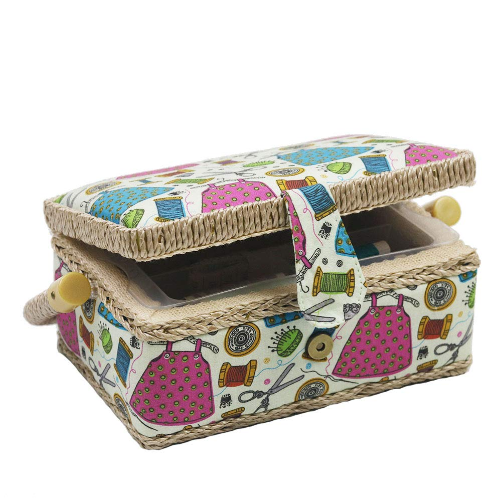 Sewing Basket Kit Sewing Box with Mini Sewing Accessories for Kids, Small (Purple Flower) D&D