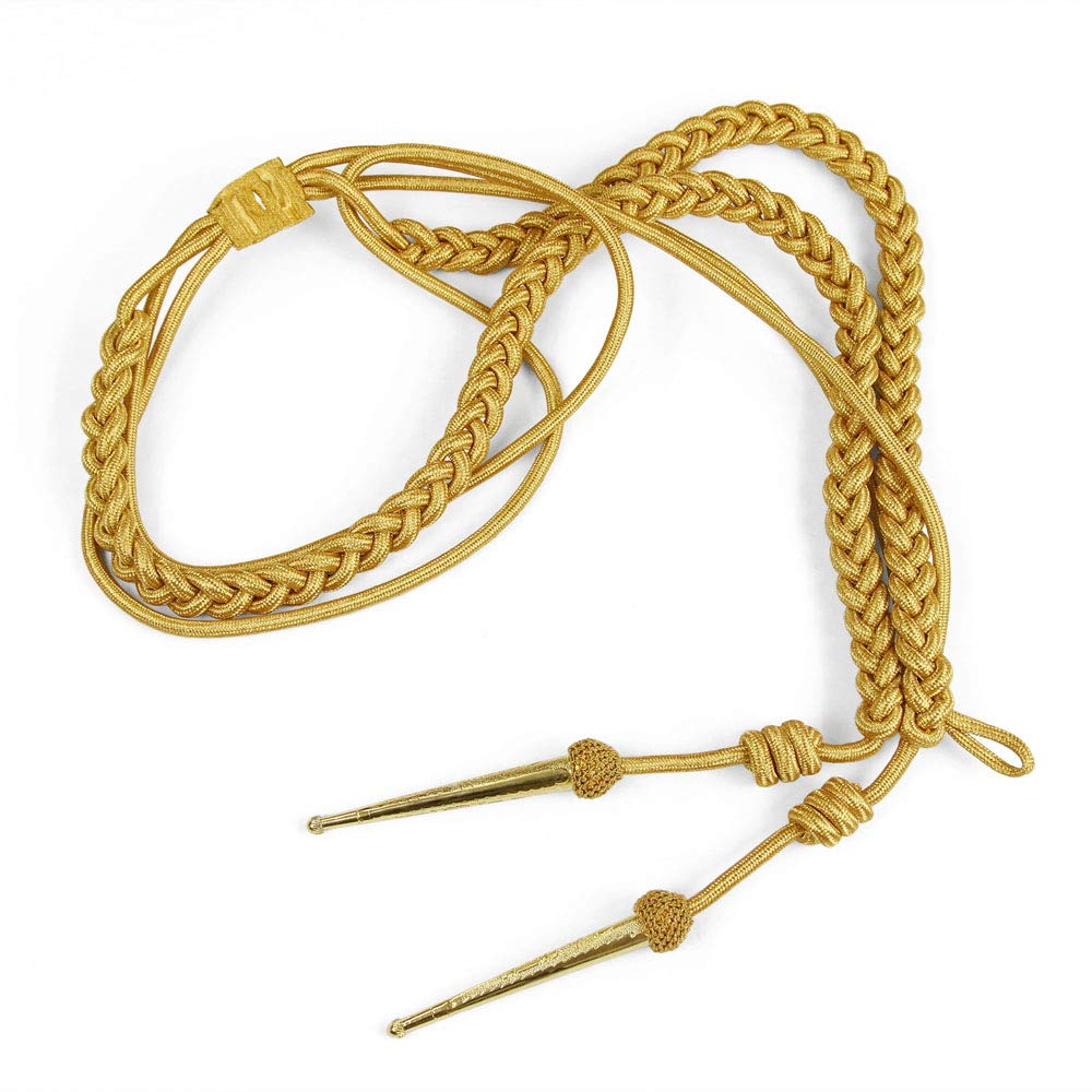 KENDRICK Gold Mylar Braided Aiguillette with Mesh & Metal Tips by Bias Bespoke