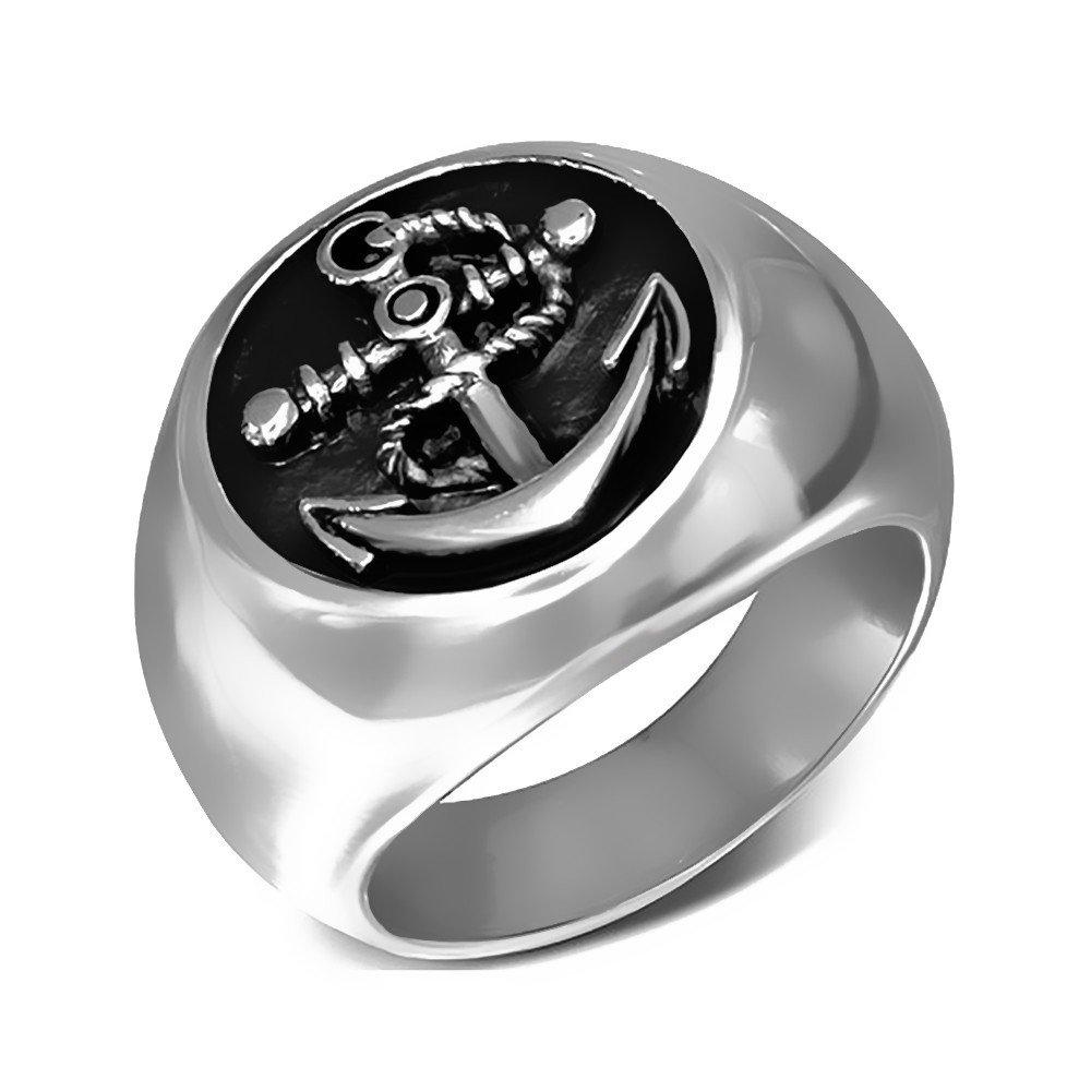 Anillo Anillo De Sellar De La Ronda De Hombre De Plata De Acero Inoxidable De Ancla Marina Retro Chic BOBIJOO Jewelry