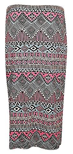 Womens Ladies High Waist Printed Pencil Midi Skirt Plus Size