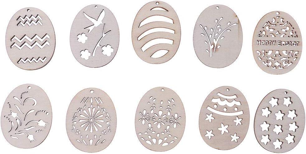 Koobysix 25pcs Holz Osterei Versch/önerung Holz Osterei Form Handwerk Tischdeko,Hochzeitdeko Streudeko DIY Handwerk Verzierungen Naturholzscheiben
