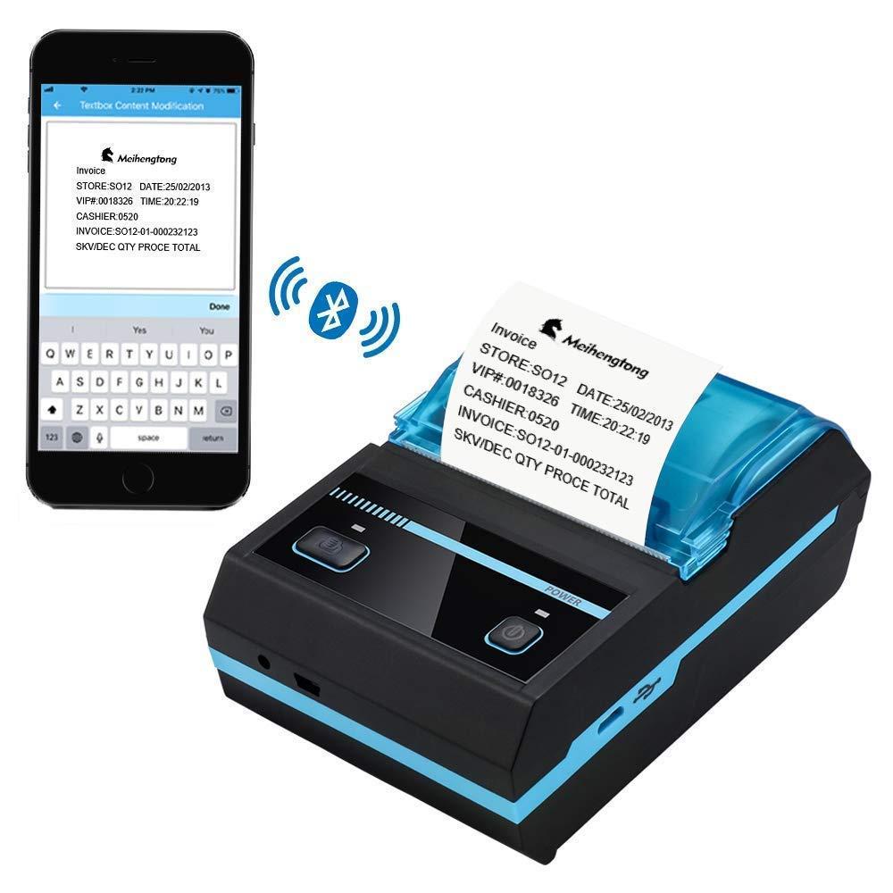 Printers Impresora térmica inalámbrica Recargable Bluetooth de 58 ...