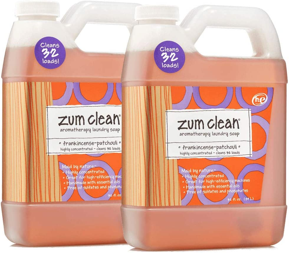 Indigo Wild Zum Clean Laundry Soap, Frankincense-Patchouli, 32 Fluid Ounce, Set of 2