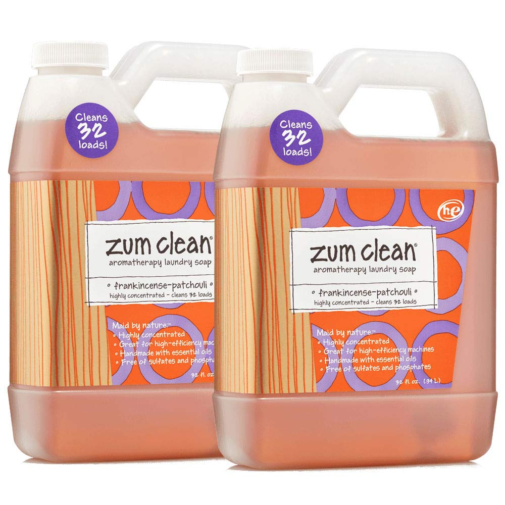 Indigo Wild Zum Clean Laundry Soap, Frankincense-Patchouli, 32 Fluid Ounce, Set of 2 by Zum