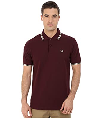 Fred Perry M1200 Polo con Punta de Doble A55 Caoba Rojo marrón X ...