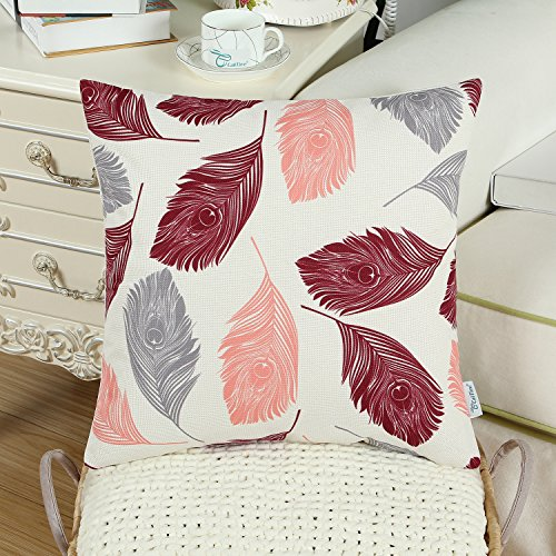 CaliTime Canvas Throw Pillow Cover Case for Couch Sofa Home, Peacock Feathers 18 X 18 Inches, Grey Coral Wine