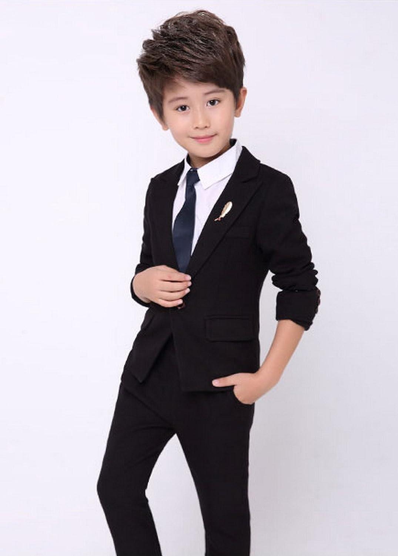 b27d1b80d Amazon.com  Boy s 3 Pcs Solid Tuxedo Suit with Jacket Pants Classic ...