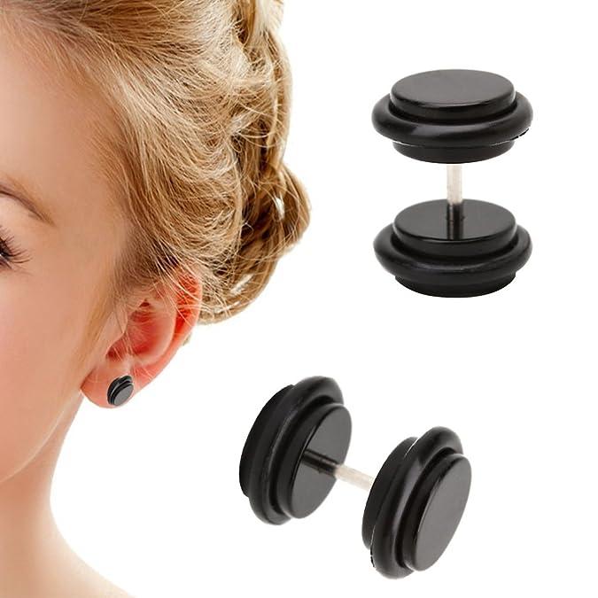 lunji negro círculo Fake Piercing - Pendientes de hombre mujer ...