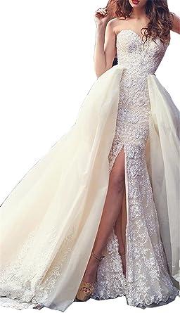 Tsbridal Detachable Skirt Wedding Dress Sweetheart Lace Mermaid ...