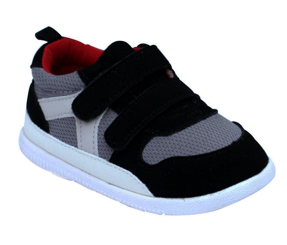 Kuner Baby Boys Girls Cotton Rubber Sloe Outdoor Sneaker First Walkers Shoes (13.5cm(12-18months), Black)