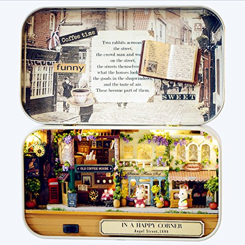 Box Theater Dollhouse, Mini Cabin Handicraft DIY Assemble Box House Kits Art Gifts Creative Room With String Light Tweezer Ruler For Kids Friends Birthday Valentine's Day (Happy Corner) (Kit Room Box)
