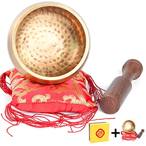Tibetan Singing Bowls Set Mindfulness Prayer Bells with Cushion Mallet Wooden Strike Sounds Bell For Yoga Zen Meditation and Chakra Healing Perfect Spiritual Gifts From Nepal (4