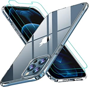 iPhone 12 Pro Max Case,[Airbag Series] with [2 x Screen Protector] [ Military Grade ] | 15Ft. Drop Tested [Scratch-Resistant] for Apple iPhone 12Pro Max 2020 6.7 Inch- Clear