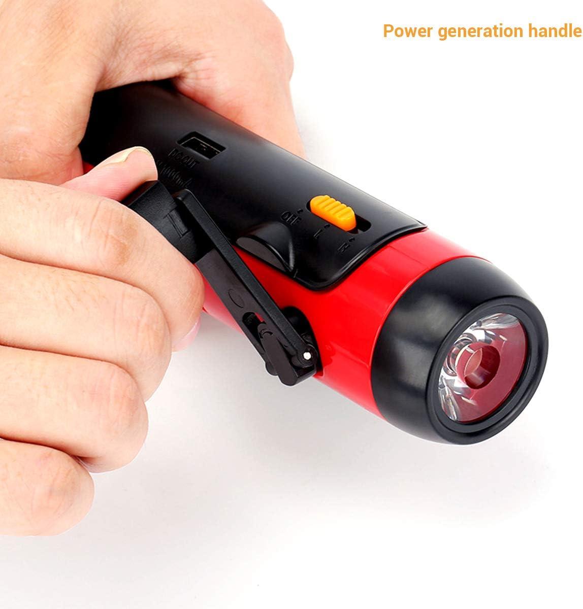 SOS-Alarm AM//FM Radio USB Powerbank f/ür Wandern Camping Notf/älle Haus und im Freien Notfallradio LED Taschenlampe mit Kurbelgriff