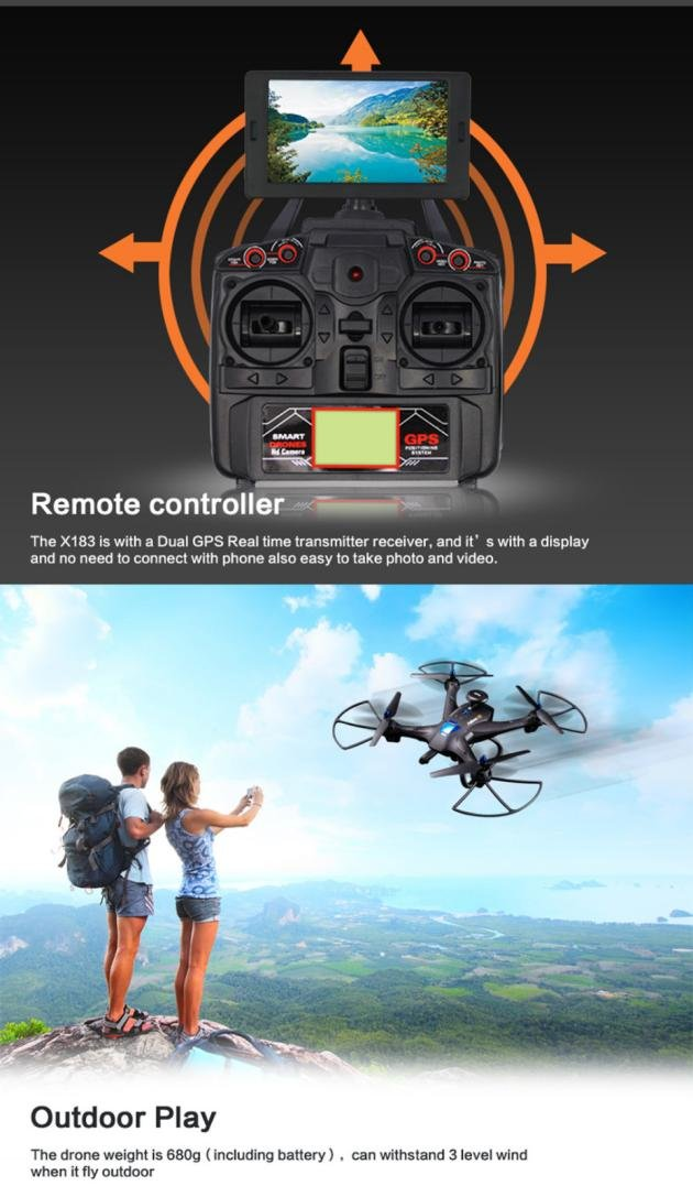 FeiliandaJJ Drone with Camera Camera Camera Drone Mit Kamera Live Ubertragung quadcopter anfänger, Global Drone X183 (Weiß) 59a797