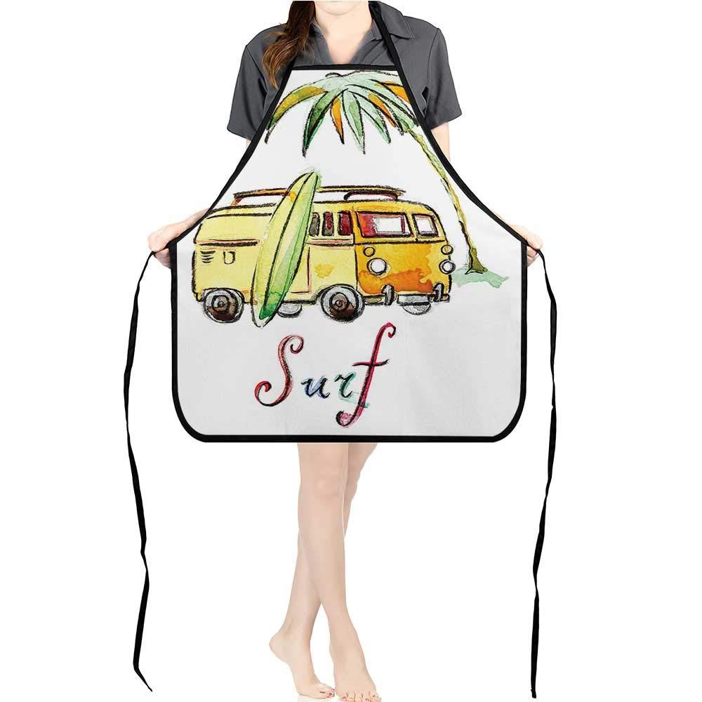 Jiahong パンエプロン メンズ レディース キッチン用 カラフルな木製 サーフボード 海 炎をテーマにした夏のイメージ レッド ブルー 料理 シェフ BBQ グリルエプロン K17.7