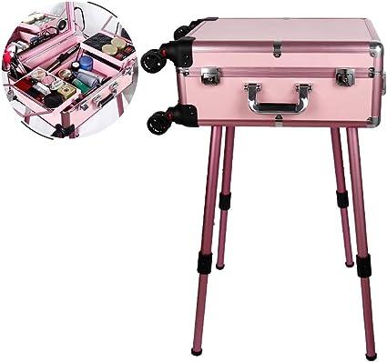 Pantalla táctil Peluquería Maquillaje Estuche de tocador con luces LED Altavoz Bluetooth Estuche de mesa de tren portátil Estación de maquillaje Espejo de vanidad Carro cosmético: Amazon.es: Belleza
